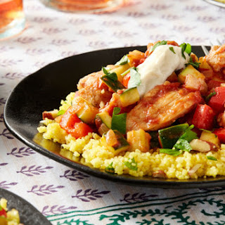 Seared Chicken & Saffron Couscous with Summer Squash & Red Bell Pepper.