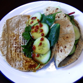 Pita with Baked Tofu and Greens.