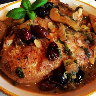 Braised Chicken with Artichoke Hearts & Olives