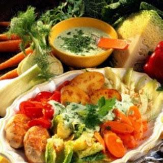 Gemüse mit Ofenkartoffeln und Kräuter-Quark-Soße