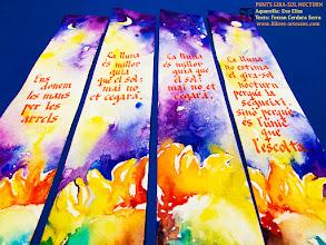 Photo: Sèrie de punts de llibre de l'aquarel·lista Eva Elias, amb aforismes originals de Ferran Cerdans Serra manuscrits per l'autor. Llibres Artesans · Fem els llibres del futur: relats breus, aforismes i poemes escrits a mà