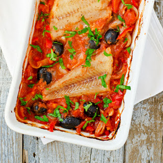 Alaska Cod, Tomatoes, Red Peppers and Olives. Oh yes!.