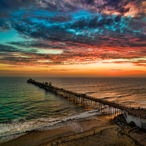Sunset at the Oceanside Pier by Alan Crosthwaite - Landscapes Beaches ( clouds, san diego, oceanside, southern california, colorful, sunset, oceanside pier, pacific ocean, pier, ocean, aerial, coastal )