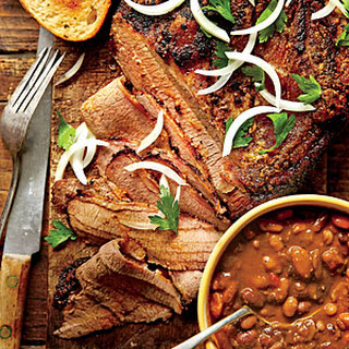 Slow-Cooked Cowboy Brisket and Beans.