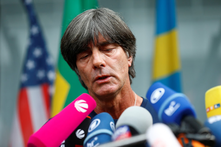 Germany coach Joachim Löw speaks to the press after his team returned home from the World Cup on June 28 2018.