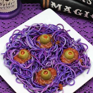 Purple Four Eyed Monster Spaghetti Halloween