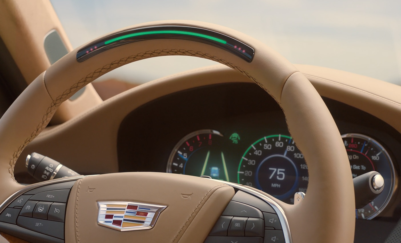 Cadillac Super Cruise steering wheel close up
