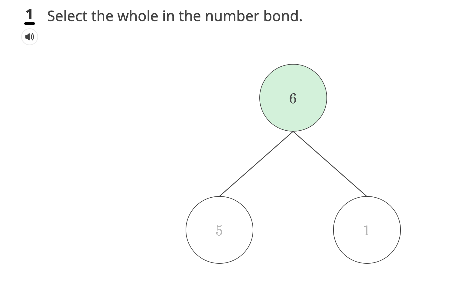 Sample grade 1 problem depicting the problem type of selectable numbers and bonds.