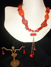 Photo: HESTIA (Goddess of the Hearth) - ГЕСТІЯ (богиня вогнища) - copper enamel pendant, coral, dyed howlite, cinnabar, rose gold vermеil beads/chains/hook clasp/French wires SOLD/ПРОДАНИЙ