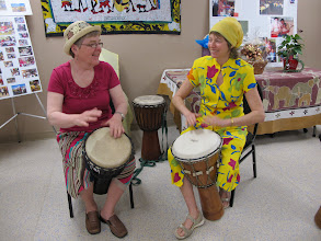 Photo: Grannies Janis and Lynda keep the beat going.