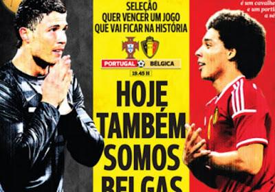 La Une de A Bola en hommage à la Belgique