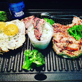 Eatz by Carlo McCoy - Food & Drink Plated Food ( southern, egg, broccoli, grilled, indoor, sunny side up, black cooks, grill, beer, bud light,  )