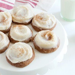 Applesauce Spice Cookies with Browned Butter-Cream Cheese Frosting.