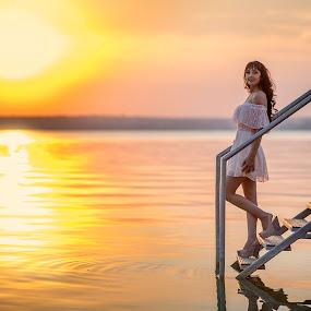 Sunset girl by MIHAI CHIPER - People Portraits of Women ( water, beatiful, girl, sunset, sunlight, , #GARYFONGDRAMATICLIGHT, #WTFBOBDAVIS )