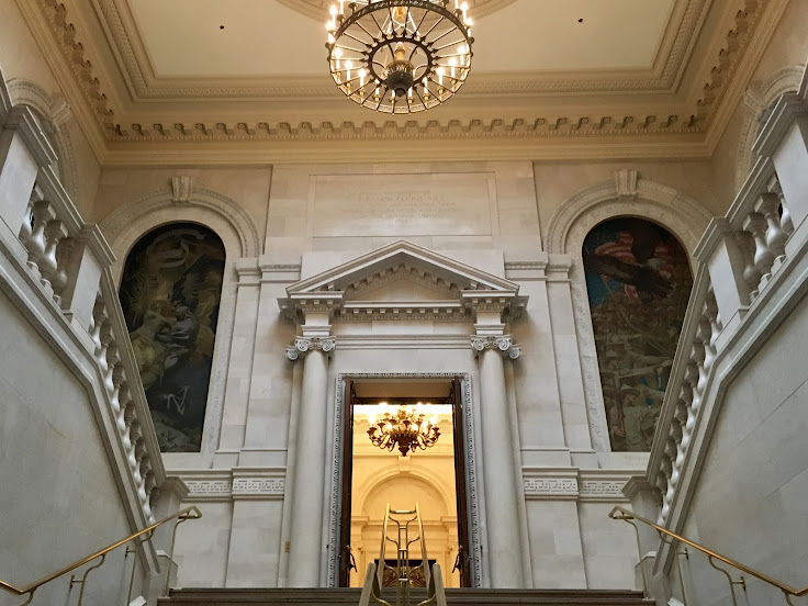 The grand staircase in the entry of the Widener Library.