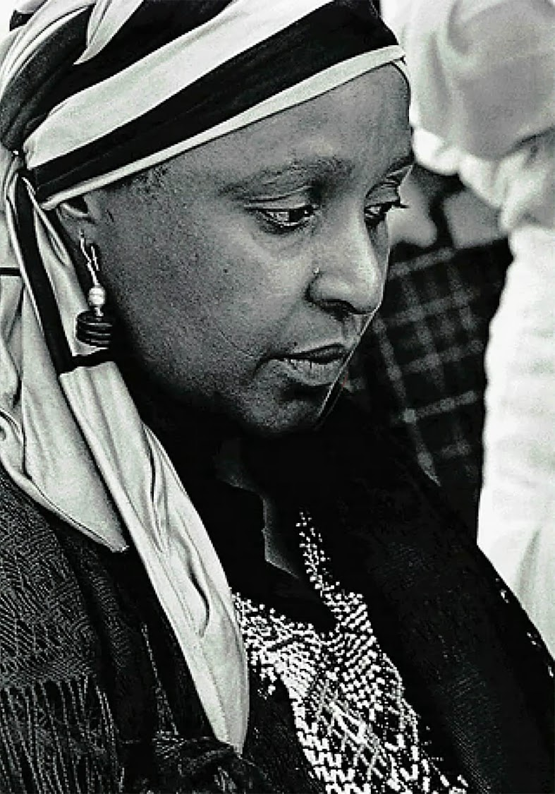 Winnie Mandela attends a funeral in Brandfort, where she had been banished to during Nelson Mandela's incarceration.