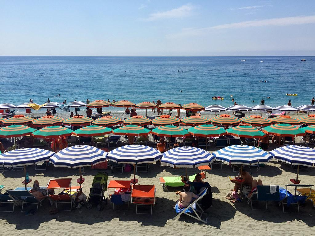 beach umbrellas on the beach