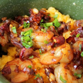 Cheddar Polenta with Sun-dried Tomatoes & Shrimp