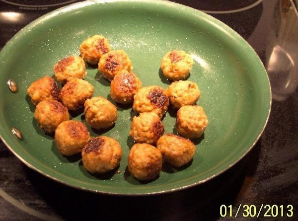 Brown your meatballs in a skillet, with a little oil. Set aside.