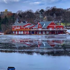 a cool winter morning by Christene Hunter - City,  Street & Park  Neighborhoods ( reflection, city, neighborhood, lake, photography,  )
