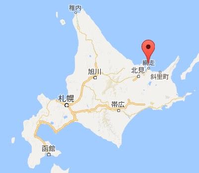 地図:能取岬