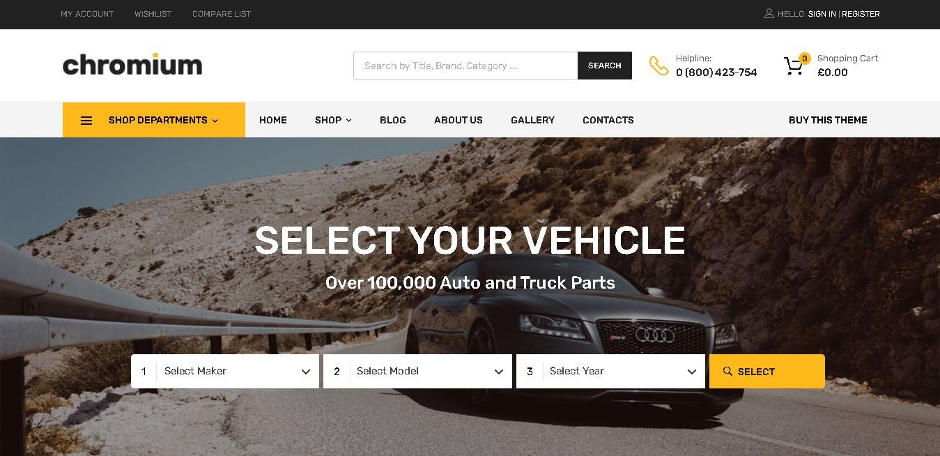 Car dealer woocommerce themes chromium