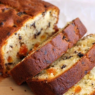 Cream Cheese Pound Cake with Dark Chocolate & Apricot