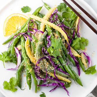 Crunchy Orange Green Beans with Miso Sauce