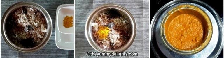 making the coconut paste for mooga mole randay