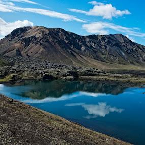 Frostastaðavatn-Iceland by Þorsteinn Ásgeirsson - Landscapes Mountains & Hills ( sky, reaflection, mountain, lava, lake )