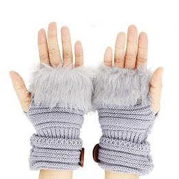 Manusi fara degete, model tricotat cu blanita