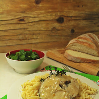 Hake in Herb Sauce with Fusilli.