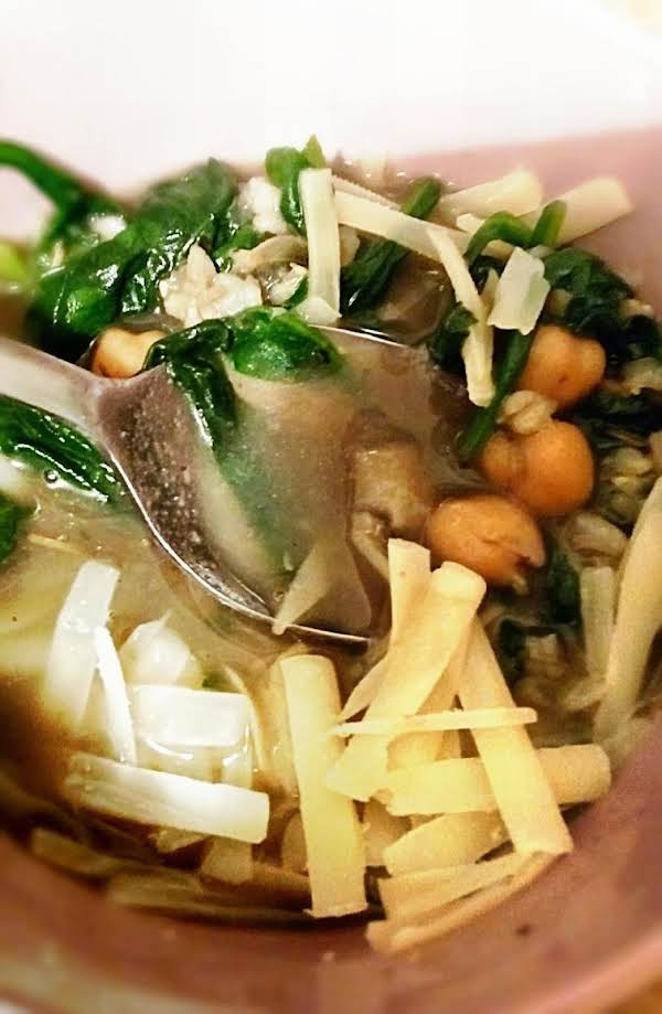 Mushroom, Spinach And Chickpea Soup Recipe