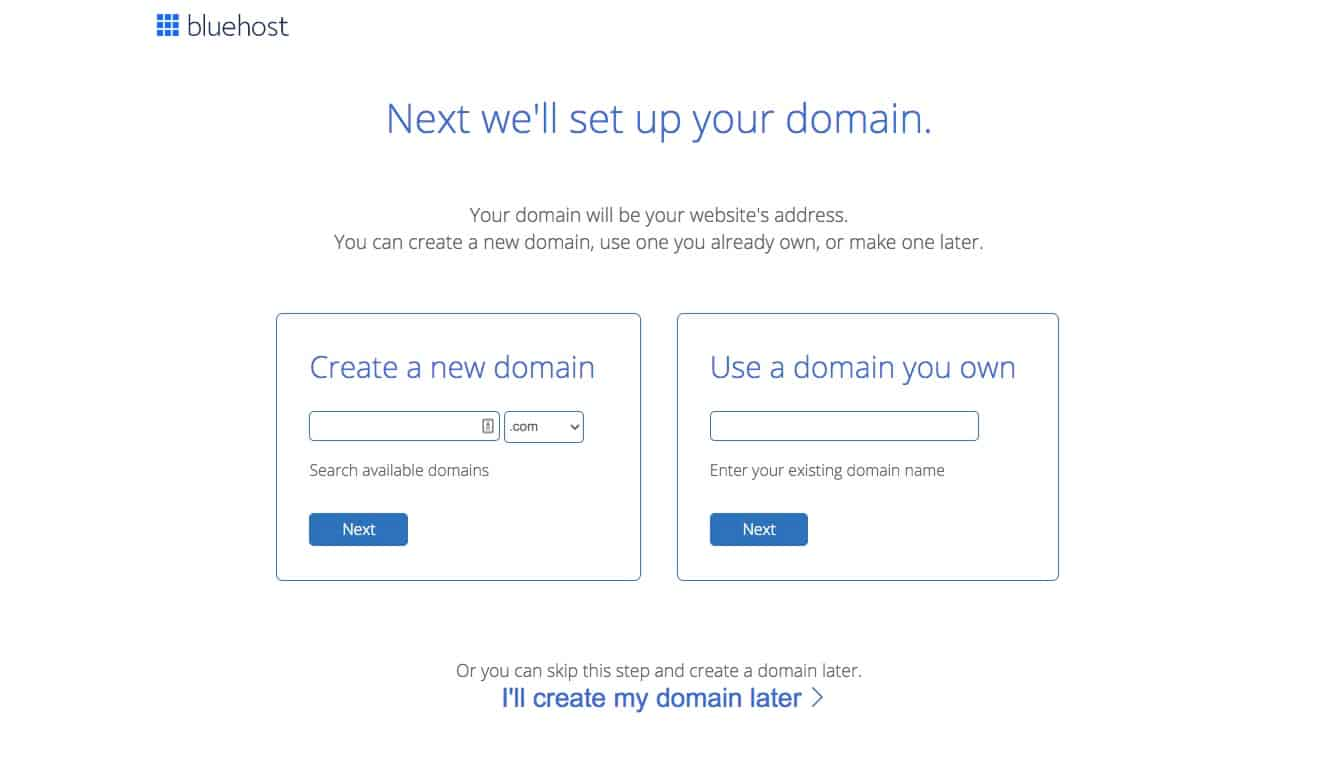 signing up for bluehost
