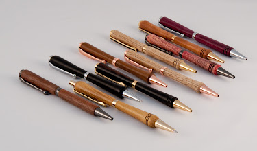 "Photo: Bert Bleckwenn - ten 5"" pens [chestnut, walnut, ebony, purple heart]"