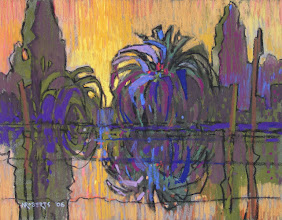 Photo: Delta Palms, Gold Sky, pastel by Nancy Roberts, copyright 2014. Private collection.