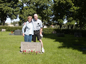 Photo: Martha and John at the family grave stone - June 2002