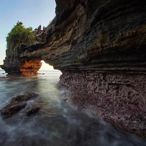 Batu Bolong Temple by Arya Satriawan - Landscapes Sunsets & Sunrises ( temple, water, coral, nature, national geographic, sunset, beach, landscape, natural )