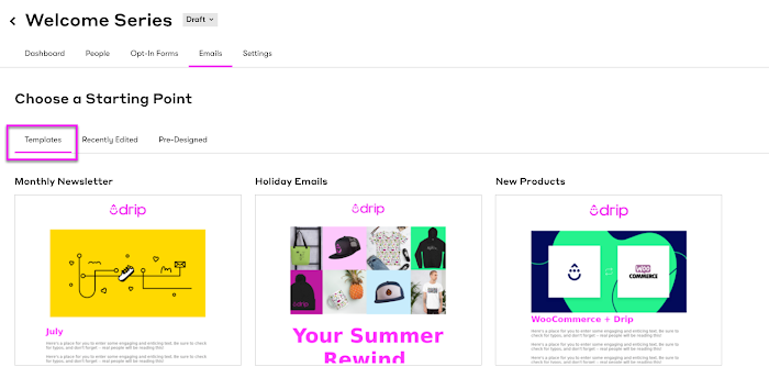 Visual email builder templates section.