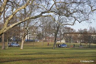 Photo: Polizei-Fahrzeuge wohin man im FFH-Rosensteinpark auch hinschaut