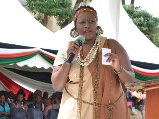 Murang'a Woman Representative Sabina Chege during the 2015 Jamhuri Day celebrations at Ihura stadium. Photo/ALICE WAITHERA