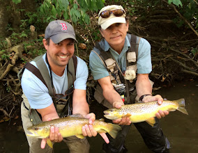 Photo: 20 mintues later....we catch up with Mel and Joe on the Mad. A spectacular double. What a day of Trout fishing in Ohio. At this point, you should stay tuned for more?