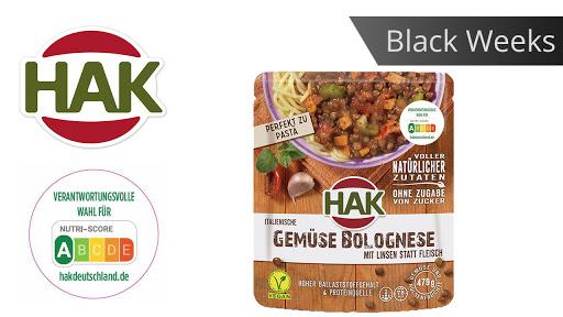 Bild für Cashback-Angebot: Black Weeks:                                                                   HAK Fertiggerichte Gemüse-Bolognese - Hak