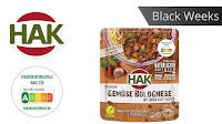 Angebot für Black Weeks:                                                                   HAK Fertiggerichte Gemüse-Bolognese im Supermarkt