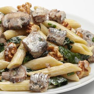 Penne Pasta with Smoky Sardine Fillets.