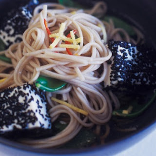 Soba Noodles With Snow Peas, Ginger And Tofu.