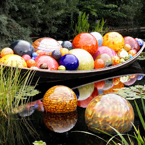 Botanic galaxy by Michelle Bergeson - Artistic Objects Glass ( water, chihuly, globes, colorful, glass,  )