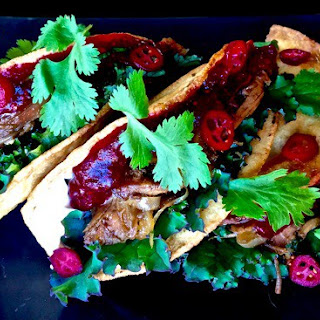 Guinness-Braised Turkey Tacos With Chili-Cranberry Salsa