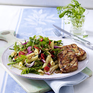 Herb-Marinated Pork Steak with Pasta Salad.