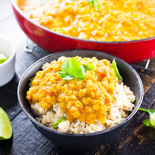 Golden Yellow Lentil Dal with Curry.